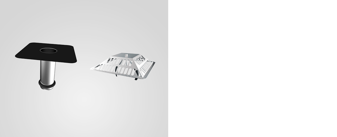 RESITRIX® renovation drain/ one piece extension element, with sleeve and universal leaf catcher